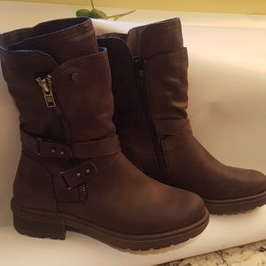 Soft Moc Mid Calf Side Zip Boot Dark Brown